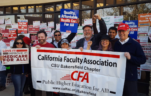 CFA Bakersfield members rally for affordable healthcare.