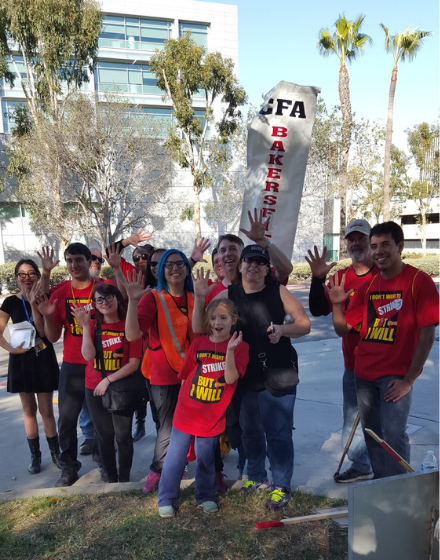 CFA Bakersfield members and their families pose at a rally.