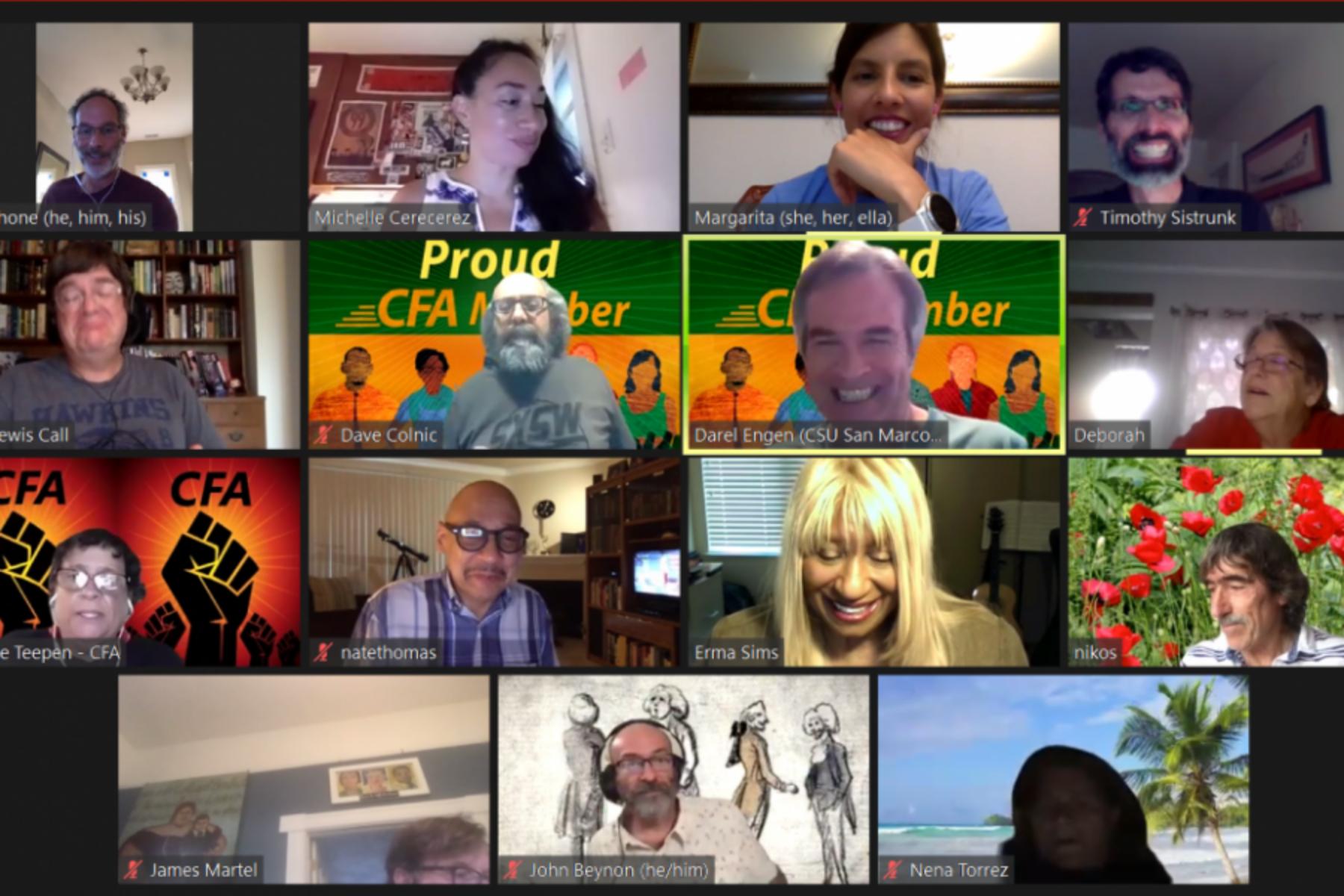 CFA's Council of Chapter Presidents meets virtually via Zoom.