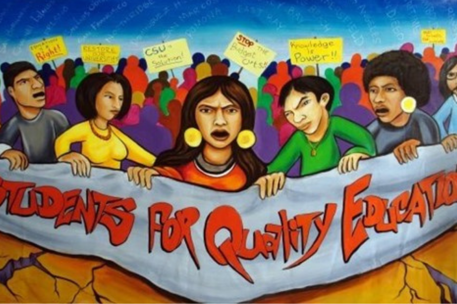 Mural painting of Students for Quality Education.