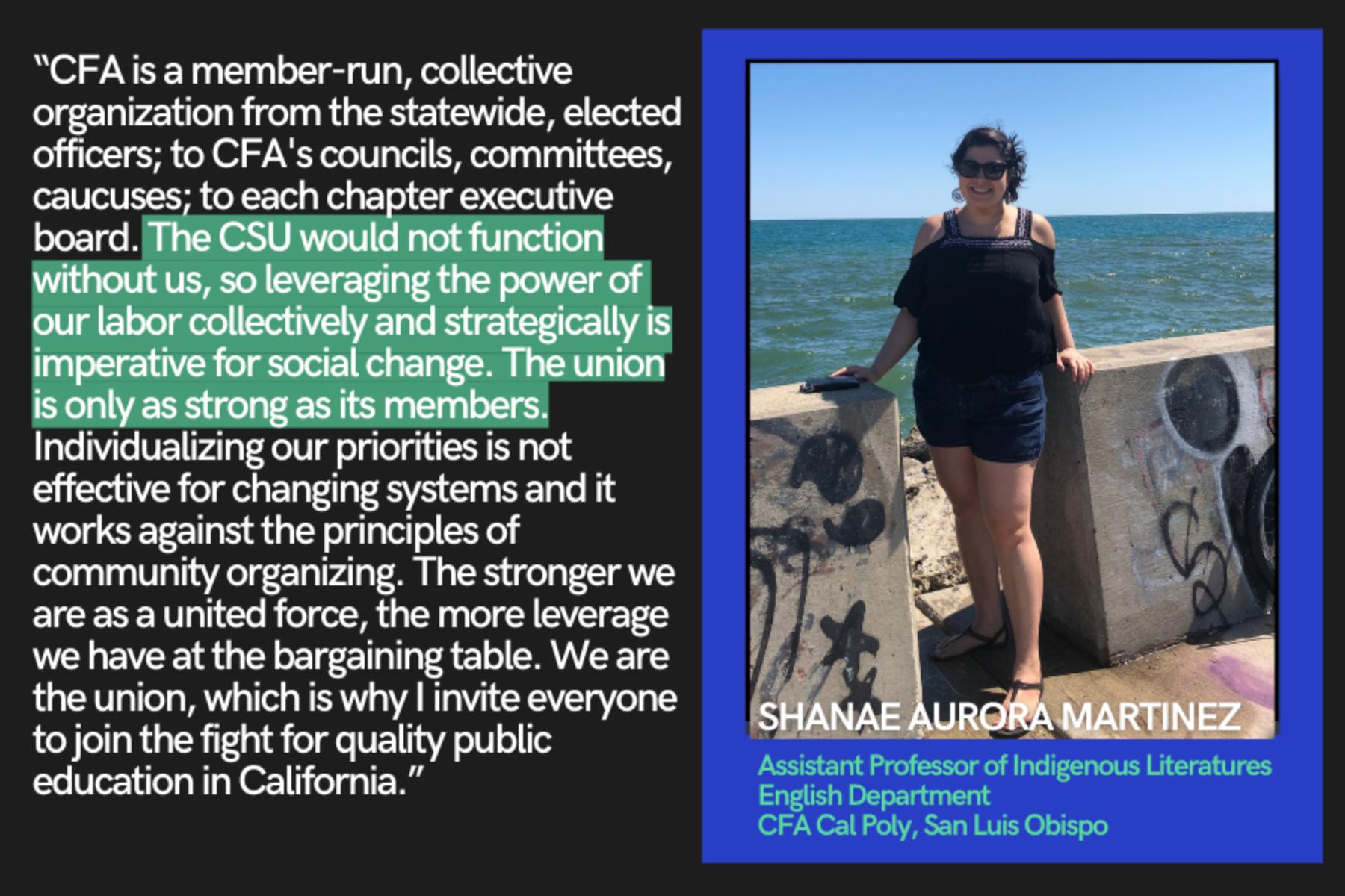 Shanae Aurora Martinez talks about why she joined CFA.