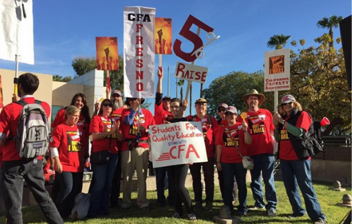 CFA Fresno members rally and carry signs in support of fair wages.