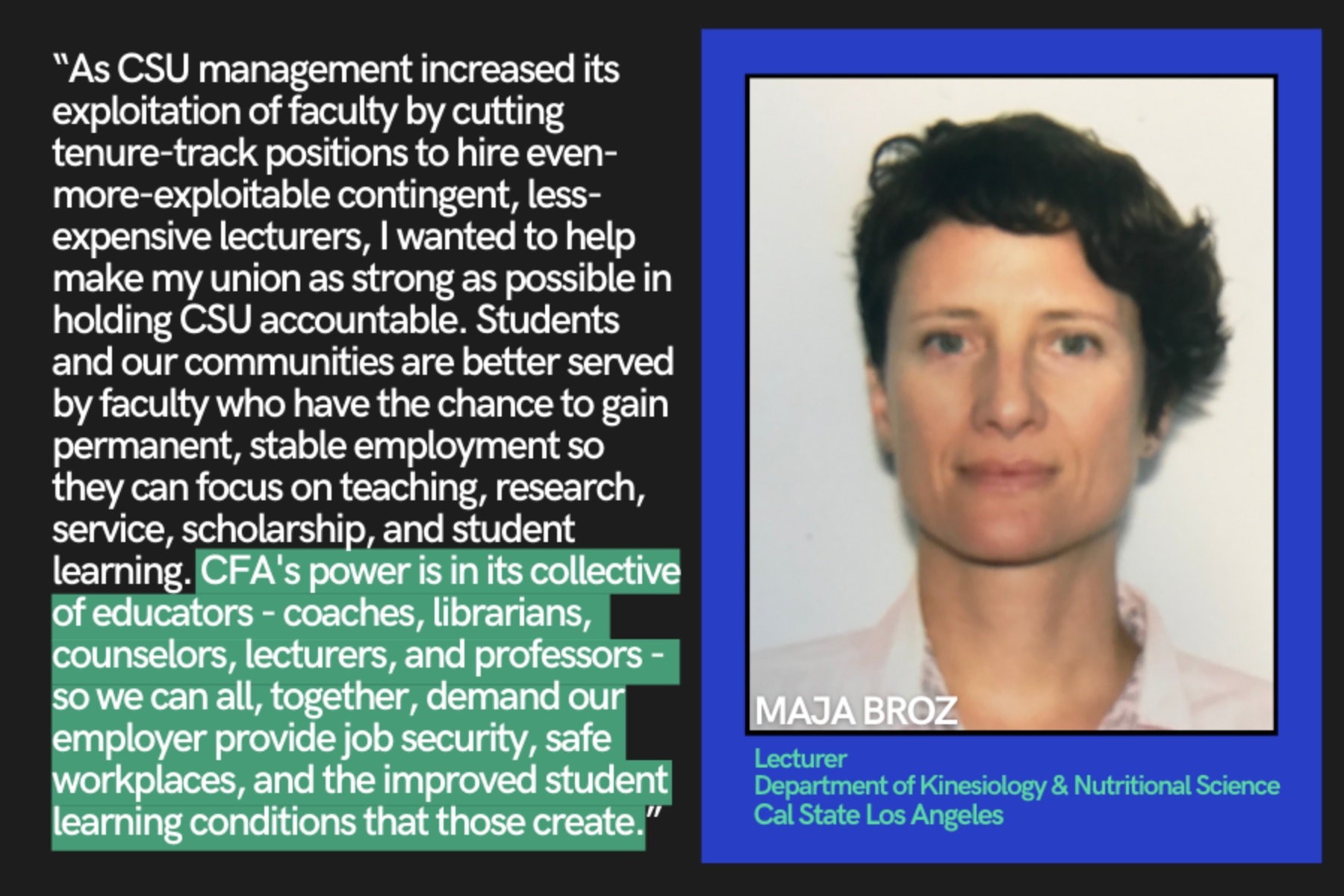 Maja Broz talks about why she joined CFA.