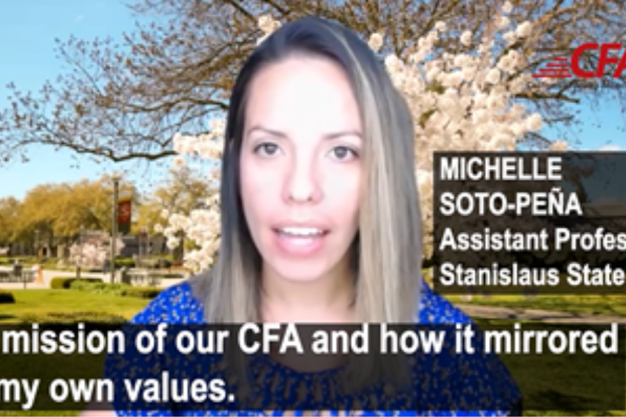 CFA member Michelle Soto-Pena talks in a video about how CFA's mission mirrors her own values.