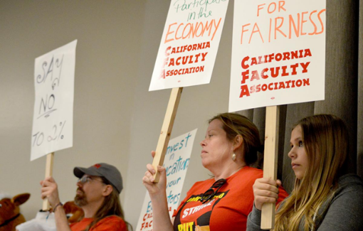 CFA Stanislaus members rally and carry signs in support of fair wages.