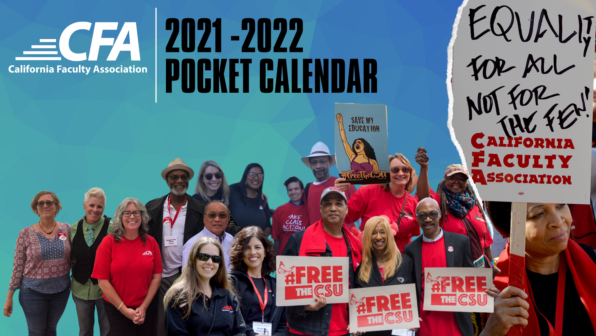 """Cover artwork for the 2021-22 pocket calendar includes groups of CFA members and a member holding a sign saying """"Equality for All."""""""