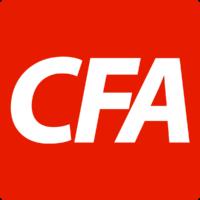 CFA logo white text on red
