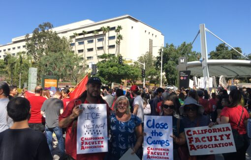 CFA members and leaders at a Rally against ICE with students at Cal State LA to close the detention center camps in 2020