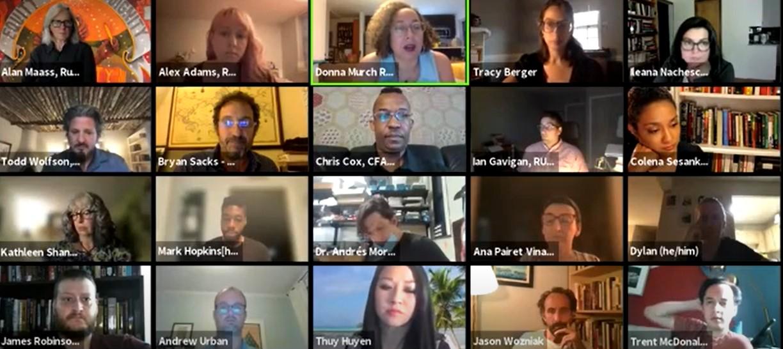 Zoom screenshot of educators launching Higher Ed Labor United.